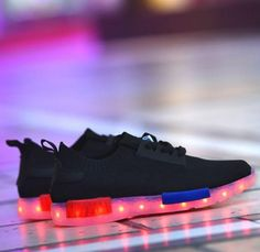 Men's Casual Shoes Wholesale Led Men Shoes Luminous Neon Basket Casual Homme Shoes High Glowing With Usb Charge Light Up Simulation Sole For Adults Refreshing And Beneficial To The Eyes