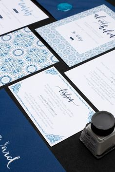 Blue, Portuguese tile inspired, destination bespoke wedding invitation set by Rose, Paper, Scissors.