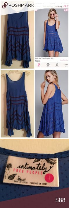 Free People lace trapeze slip dress blue small S Excellent condition. Size small. Happy to bundle (discount!). Offers only via the offer function please. No trades. Free People Dresses Asymmetrical