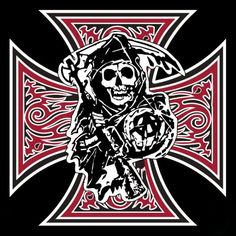Anarchy Logo | Tee shirt noir avec logo Sons Of Anarchy Croix de malte en noir