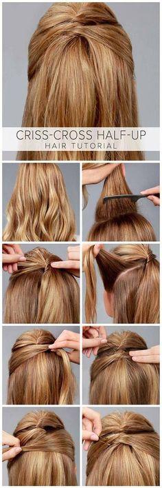 Criss-Cross Half-Up Hair Tutorial - Frisuren Tips Belleza, Down Hairstyles, Amazing Hairstyles, Trendy Hairstyles, Summer Hairstyles, Girl Hairstyles, Professional Hairstyles, Short Haircuts, Hairstyles Haircuts