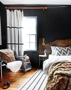 Black Texture The ultimate bedroom makeover / domino - How to create a teen boy bedroom design using teen boy decor that speaks to his own personal style. Kristin Jackson of The Hunter Interior shows us her fifteen-year-old sons bedroom decor. Home Bedroom, Bedroom Decor, Bedroom Ideas, Bedroom Rustic, Master Bedroom, Bedroom Lighting, Boys Bedroom Curtains, Bedroom Designs, Dark Curtains