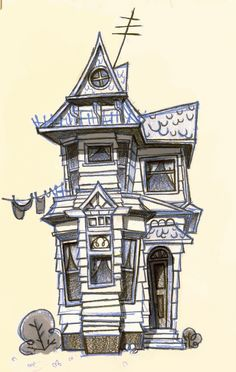 Halloween haunted house stage haunted house art Haunted house drawing ideas