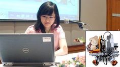 #Stem #Edu Success #Video: Yaya Lu presents her findings to an engineering conference in Bangkok. Inset, a prototype of her wheelchair robot