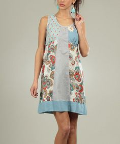 Look what I found on #zulily! Blue & Gray Patchwork Scoop Neck Dress by For Her #zulilyfinds