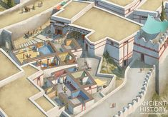 A modern recreation of the palatial cult centre at Mycenae during the Greek Bronze Age, by Rocío Espin. Courtesy of Ancient History Magazine / Karwansaray. Greek History, European History, Ancient History, American History, Ancient Egyptian Art, Ancient Aliens, Ancient Greece, Ancient Architecture, Art And Architecture