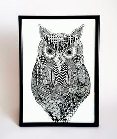 OWL ART 'OWLEXANDER' - An original ink drawing reproduced using high quality Giclée printing techniques. Available for Owl Art, Stiletto Nails, Artwork Prints, Tea Towels, Giclee Print, Ink, Drawings, Tote Bags, House