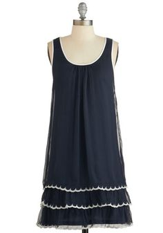 On the Dance Flow Dress in Navy - Blue, Tan / Cream, Solid, Scallops, Tiered, Trim, Casual, Americana, Tent / Trapeze, Sleeveless, Woven, Good, Scoop, Vintage Inspired, 20s, Variation, Mid-length