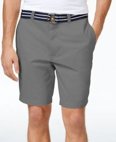 Club Room Men's Estate Flat-Front Shorts with Belt, Only at Macy's  - Gray 32