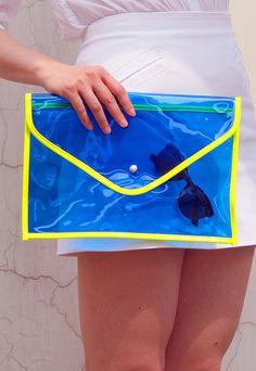 Neon Day-Glo Oversize Clear Envelope Clutch Purse Bag Handbag - Cosmic Jelly Blue Transparent - Women Ladies - Handmade