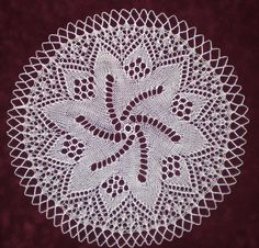 "European Knitted Lace Doily, 13"" diameter, 100% fine white cotton, handmade by KnittySchmitty."