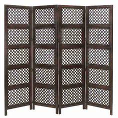 "Cole & Grey 72.83"" x 80"" Loft Wood Screen 4 Panel Room Divider"