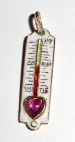 Wonderful Vintage 14K Enamel & Amethyst Love Charm, Thermometer
