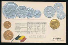 Belgien  Belgium   Ansichtskarte  Prägekarte  Münzen   Silber + Gold  Franc