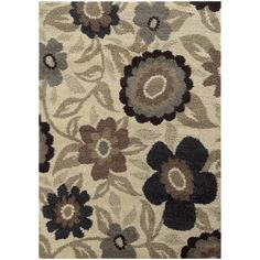Overscale Floral Shag Ivory/ Beige Rug (7'10 x 10'10)