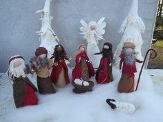 Deko und Accessoires für Weihnachten: Gefilztes Krippen SET B, Krippenfiguren made by filzweiber via DaWanda.com