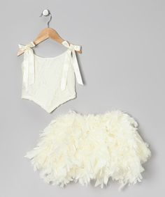 Take a look at this Ivory Lace Tie Top & Feather Skirt - Infant, Toddler & Girls by Elena Collection on #zulily today!