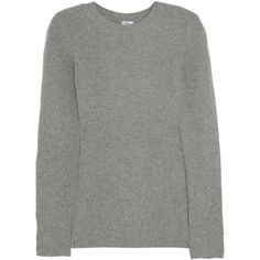 Iris & Ink Seamed cashmere sweater (120 CAD) ❤ liked on Polyvore featuring tops, sweaters, shirts, jumpers, light gray, loose fitting tops, pure cashmere sweaters, loose fitting sweaters, loose shirts and cashmere shirt