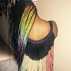 Box braids with ombre highlights #rainbow #protective #style