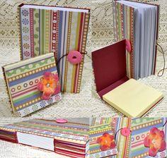 Primeiro caderno com costura longstitch! Kit com porta blocos adesivos. #paperriê #encadernaçãoartesanal #encadernaçãoartística #scrap
