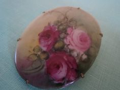Victorian Hand Painted Porcelain Brooch with Roses