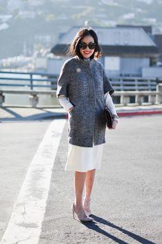 Holiday Sparkle Jacket – Ann Taylor  Blouse – Celine Dress – The Row Sunglasses – Prada  Heels – Valentino Clutch – Celine