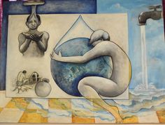 artist : Arjun das  title :SAVE WATER  acrylic on canvas  size : 123 x  90cm prise: 50,000.00 CONTACT :9835508353