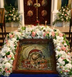 Orthodox Easter, Flower Decorations, Table Decorations, Jesus Art, Church Flowers, Orthodox Icons, Funeral, White Flowers, Floral Arrangements