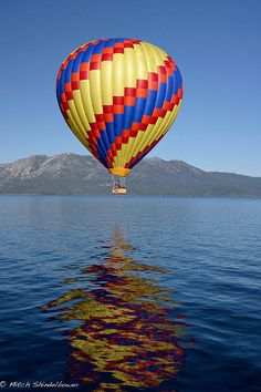 ✯ Hot air balloon over Lake Tahoe.did this on our sisters trip several years ago. Air Balloon Rides, Hot Air Balloon, Air Ballon, Lake Tahoe, Photos Du, Ciel, Fine Art America, Pictures, Image
