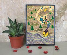 Digitaldruck - Nacht im Wald  - A4 Illustration/Druck  - ein Designerstück von IrinaMmur bei DaWanda