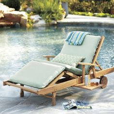 Brisbane Chaise - Crafted of FSC certified eucalyptus wood.  I have this on Lucky Jack and I love it.  One of my favorite places to watch the sunset or just relax.