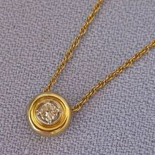 ESTATE 14k Bezel Set Diamond Slide Pedant/Chain - .30ct. vintage birthstone jewelry ruby lane rubylane www.rubylane.com