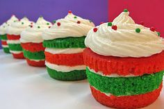 Christmas layered cupcakes that could be changed to red, white, and blue