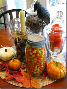 easy fall decorating... especially if you have tons of mason jars like i do. Great idea for vintage canning jars!!