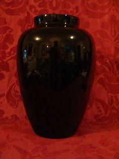 """Vintage black Amethyst 11"""" Tall  Vase"""