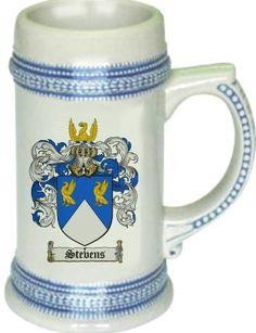 Stevens Coat of Arms / Family Crest stein mug - $21.99