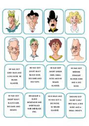 English worksheet: Memory game faces description