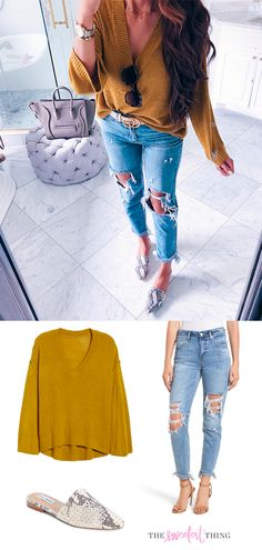 Olive Amber Exposed Seam Sweater, Ripped Jeans, snakeskin mules, Steve Madden. Emily Gemma, the sweetest thing blog. Pinterest Fashion Outfit. Casual Style for all the seasons. #EmilyGemma #theSweetestThingBlog