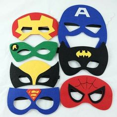 These superhero masks will take your party guests into the imaginary world of superheros. Each set includes 7 masks - Batman, Superman, Spiderman, Wolervine, Ca Avengers Birthday, Batman Birthday, Superhero Birthday Party, 6th Birthday Parties, Boy Birthday, Birthday Ideas, Spider Man Party, Superman Party, Superman Mask