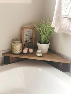 Bathroom Decor Discover Corner Bath Shelf Caddy Creat a serene setting in your bathroom or kitchen with the beautiful corner shelving caddy. Stains and sealed to protect from water damage. Put in the corner of your tub or sink! Bathtub Decor, Bathroom Sink Decor, Toilet Room Decor, Bathroom Crafts, Small Bathroom, Budget Bathroom, Bathroom Caddy, Vintage Bathroom Decor, Bathroom Quotes