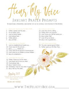 Hear My Voice Prayer Journal Prompts. Prayer journaling has the ability to transform your prayer time as you focus your prayers to the Father. These prompts are designed to ignite your prayer life and remind you that our Father hears your voice. Prayer Scriptures, Bible Prayers, Faith Prayer, My Prayer, Bible Verses, Bible Teachings, Bible Quotes, Prayer Board, Scripture Reading