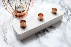 DIY Kerzenhalter aus Gips und Kupferrohren. Zutaten aus dem Baumarkt ;)  #copper #DIY #Gips   http://lettersandbeads.de/kerzenhalter-aus-gips-diy