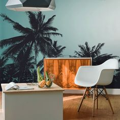 Retro Palm Trees Wall Mural #eazywallz #wall #bedroom #home #decor #interior #design #decorate #mural #bedroomideas