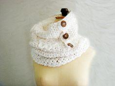 cowl scarf patterns free   PDF Crochet Pattern DIY Tutorial Button up Scarf Cowl Neckwarmer Snood ...