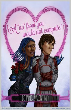 Happy Valentine's day!Here's the lunar chronicles Valentine's day cards all together. I love all the different art styles! ❤ Iko and Kinney Valentine by Ellie Owen Jacin and Winter. Best Friend Application, The Lunar Chronicles, Marissa Meyer Books, Different Art Styles, Classic Literature, Book Memes, Best Series, Happy Valentines Day, Book Worms