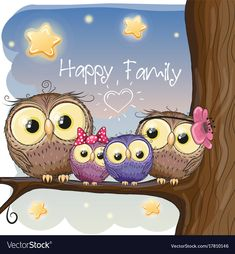 Owls family are sitting on a branch vector image on VectorStock Owl Clip Art, Owl Art, Cute Owls Wallpaper, Branch Vector, Family Drawing, Owl Family, Owl Cartoon, Owl Pictures, Happy Paintings
