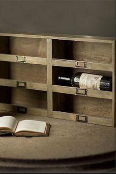 6 Cubby Wine Rack w/ Metal Label Holder  http://www.cherryhillsmarket.com/#!the-handsome-home/c2z3