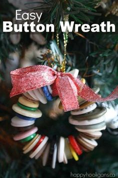 Easy button wreath ornament for kids to make - Happy Hooligans