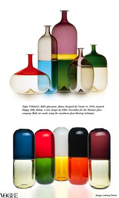 Tapio Virkkala's 'Bolle' glassware, above, designed for Venini in 1968, inspired 'Happy Pills', below, a new design by Fabio Novembre for the Murano glass company. Both are made using the ancalmon glass-blowing technique.