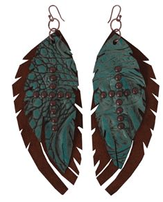Feather leather earrings in 2 layers of leather: rust suede and turquoise gator with studded cross detail.